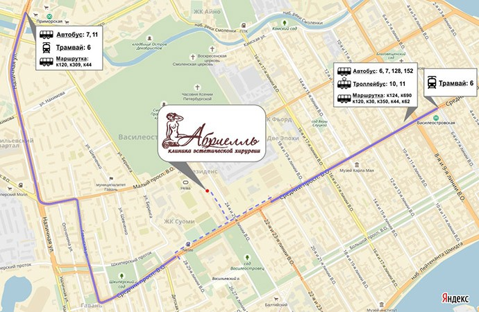 Карта проезда в клинику Абриелль